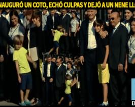 Macri anunció inversiones de Coto, echó culpas y dejó a un nene llorando