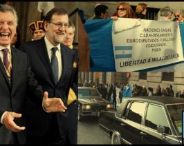 """Escrache a Macri en España y mensaje de Podemos a los argentinos: """"Vamos a Volver!"""""""