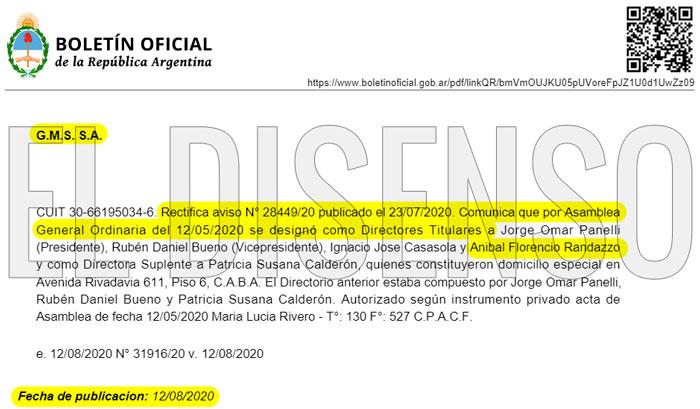 Florencio Randazzo, Director Titular de empresa que adjudicó contrataciones directas del Estado por más de 83 millones - El Disenso