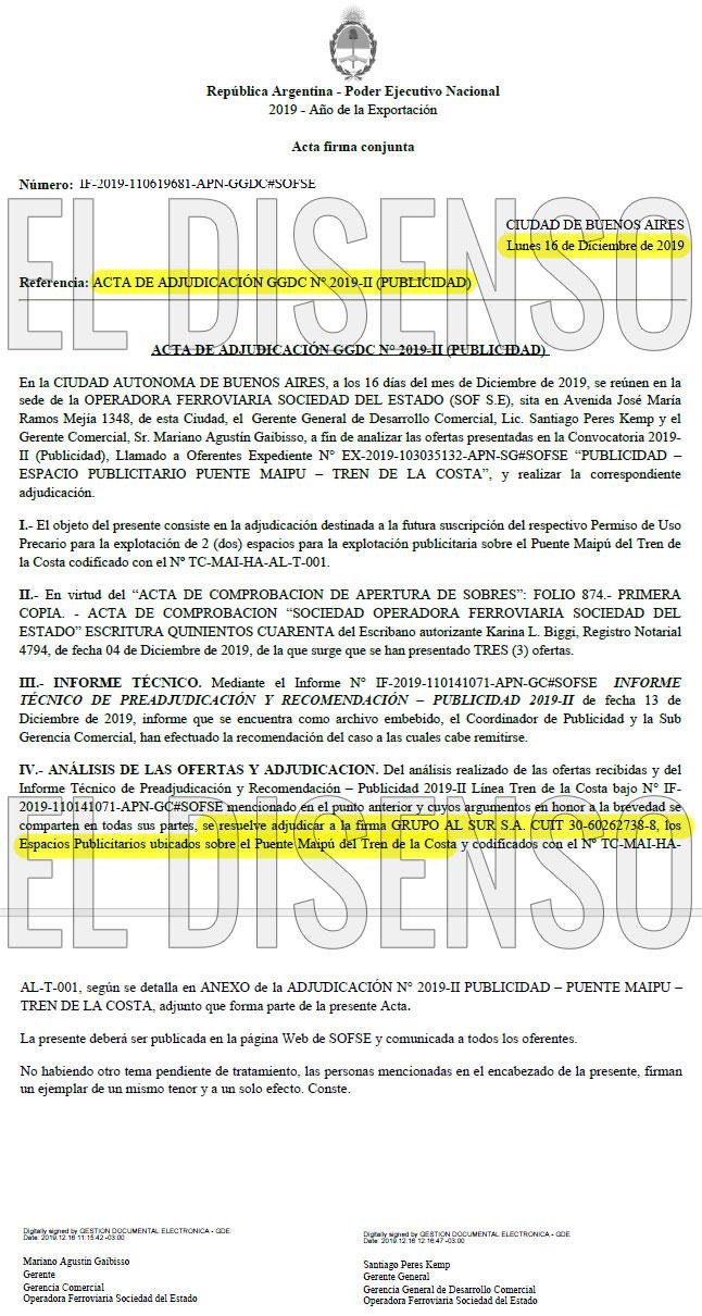 Adjudicación del gobierno de Alberto Fernandez a Albistur - El Disenso