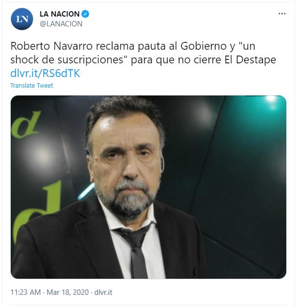 """Roberto Navarro reclama pauta al Gobierno y """"un shock de suscripciones"""" para que no cierre El Destape"""