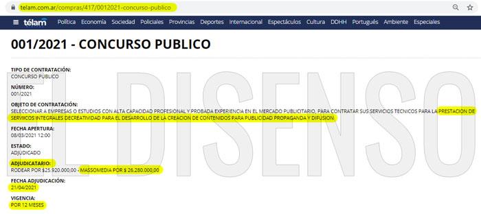 Contrato Massomedia - Monteagudo con Telam - El Disenso
