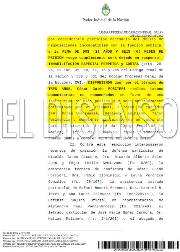 Ratificación condena Causa Ciccone - El Disenso