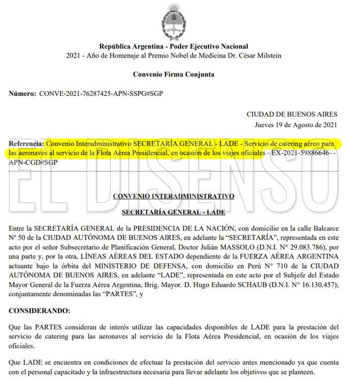 Convenio 2.5 millones en catering para los vuelos oficiales de Alberto - El Disenso