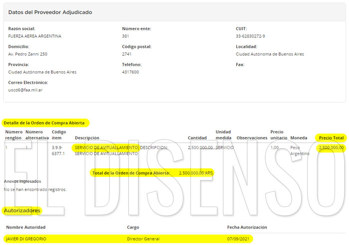 Orden de compra por 2.5 millones en catering para los vuelos oficiales de Alberto - El Disenso